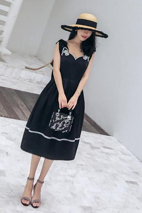 Pearl bow strap dress female summer 2018 new skirt in the long section of women's temperament